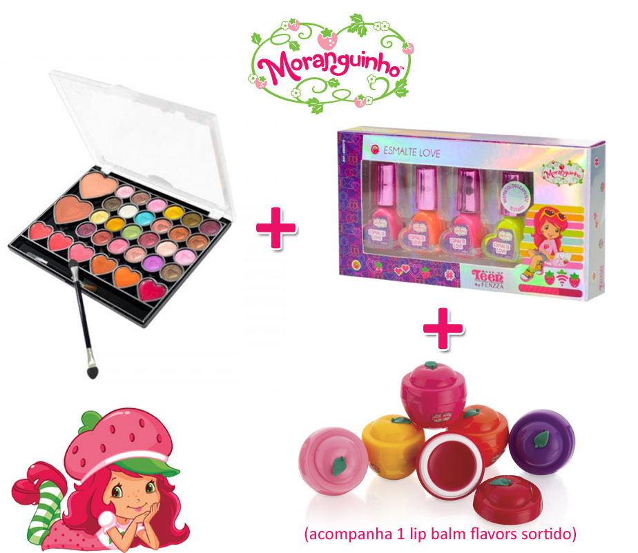 Kit Moranguinho Teclado do Amor + 1 kit Esmalte + 1 lip Balm Flavors sortido