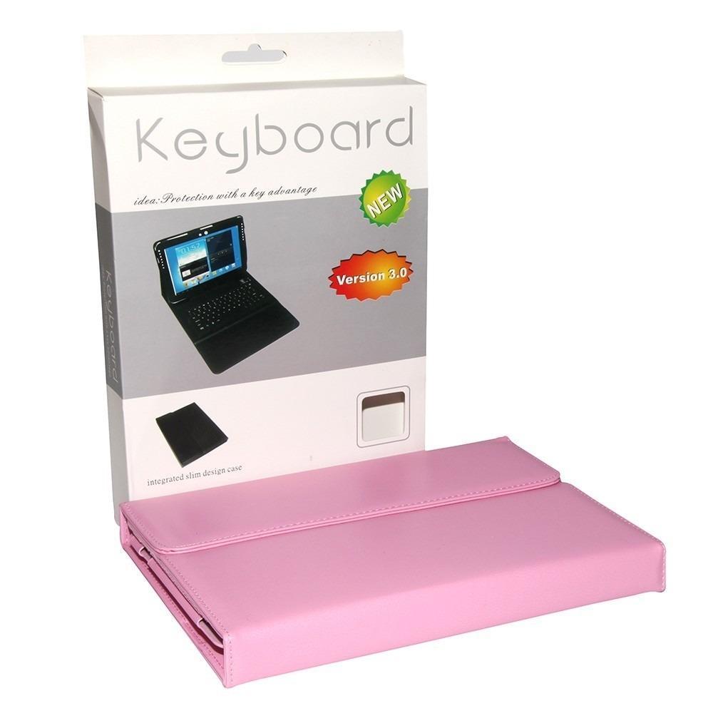 Case Samsung Galaxy Tab 10.1 Teclado Sem Fio Bluetooth Rosa