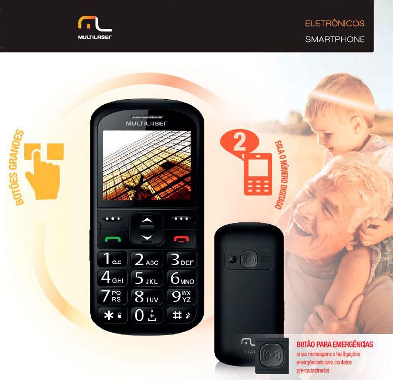 Celular Vita II para Idoso Barra Preto Dual Chip Câmera Lanterna Rádio FM Bluetooth Botão SOS MP3 P9016 Multilaser