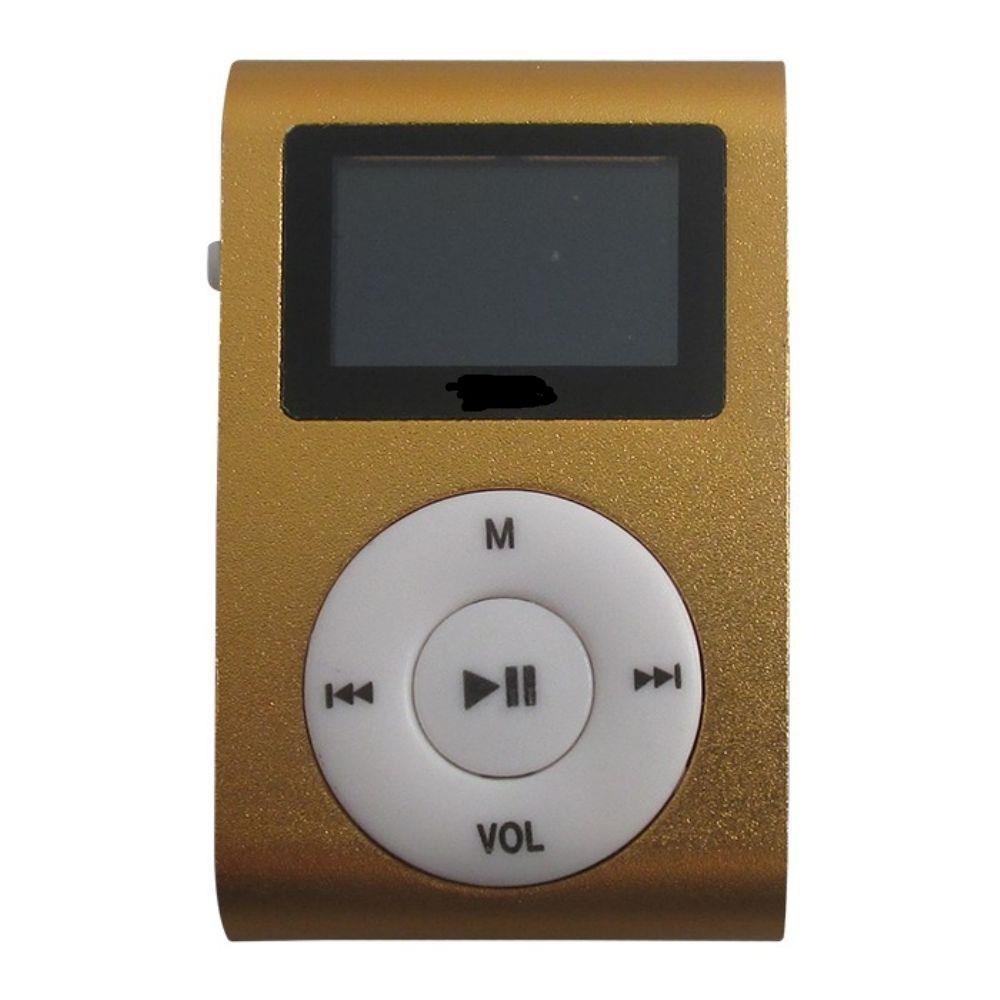 MP3 Player com Entrada SD e Fone de Ouvido Dourado