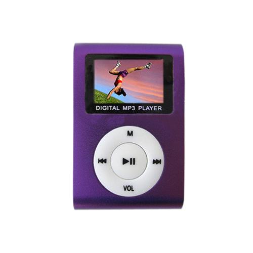 MP3 Player com Entrada SD e Fone de Ouvido Roxo