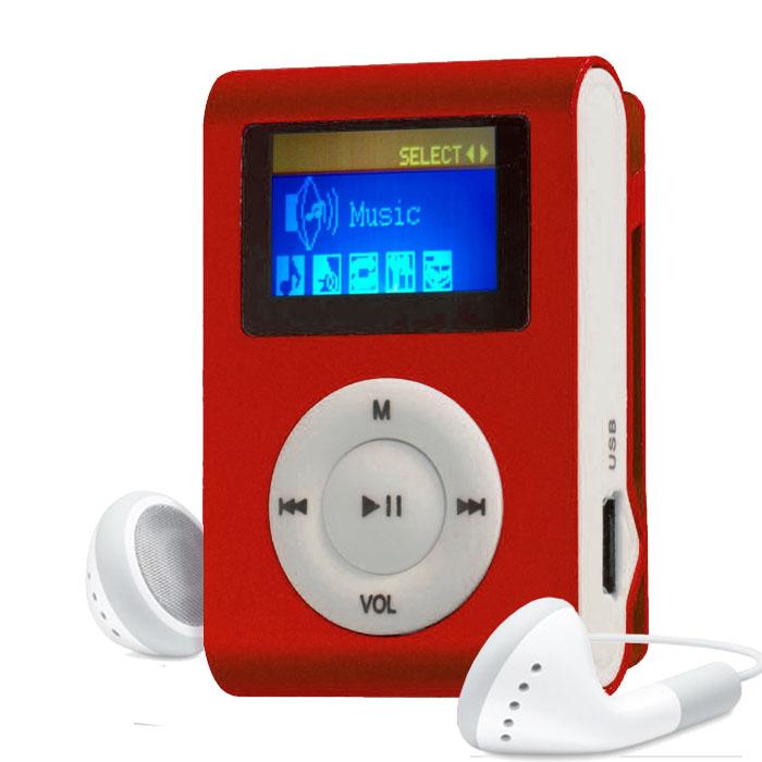 MP3 Player com Entrada SD e Fone de Ouvido Vermelho
