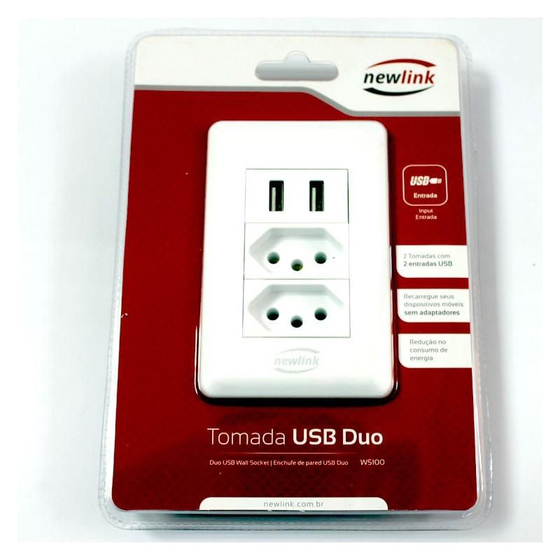 Tomada USB Duo WS100 Newlink 2 Tomadas + 2 Portas USB 5V
