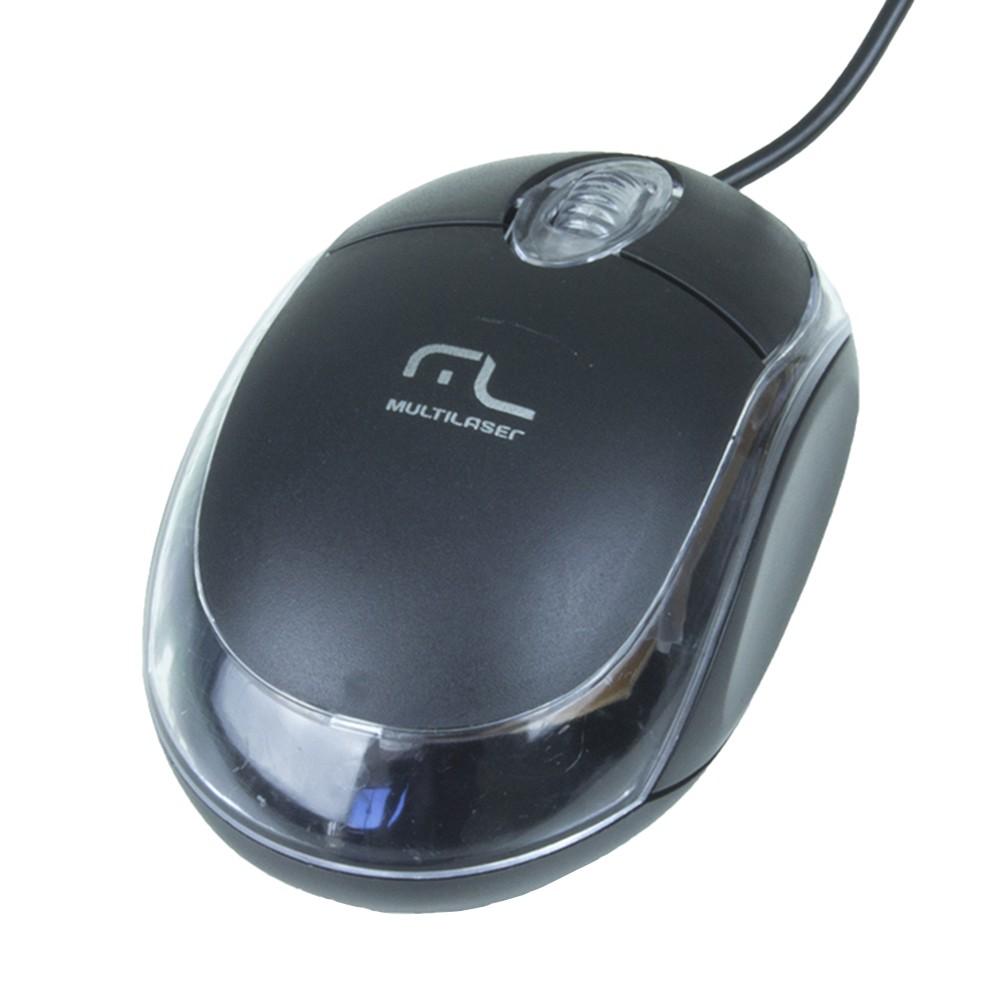 Mouse Óptico Multilaser Classic Box USB Preto - MO179