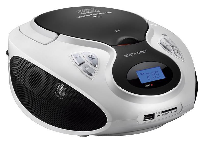 Rádio Multilaser Portátil Sp181 Boombox 20w Cd/Usb/Sd/Fm/Aux