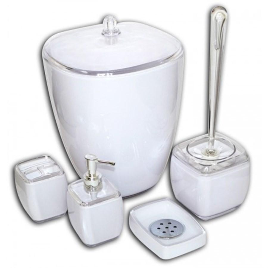 Acessorios De Banheiro Em Acrílico Decorativo 5 Peças Branco