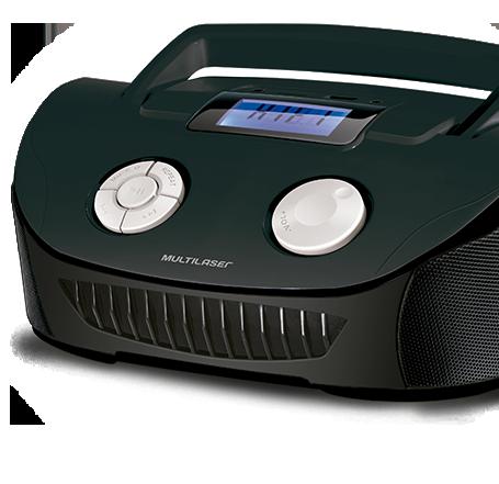 Som Portátil Boombox Multilaser SP182 4 em 1 Bivolt Com Entradas USB Rádio FM Preto