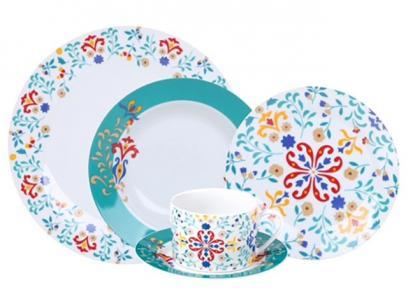 Aparelho de Jantar Chá 30 Peças - Porcelana Redondo Colorido Madrid APJA029