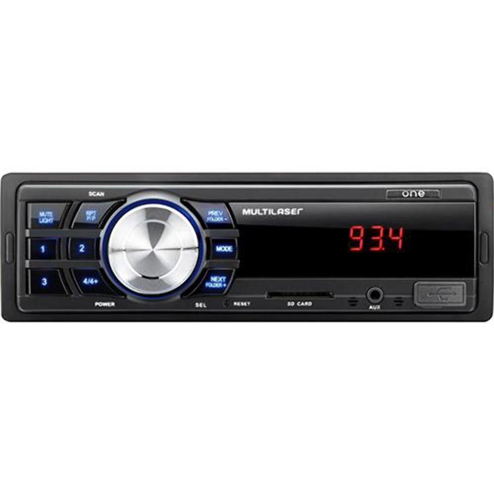Som Automotivo Multilaser One P3213 Preto, Mp3 Player, Rádio Fm, Entradas Usb, Cartão Sd E Auxiliar, Potencia 4 X 12,5W