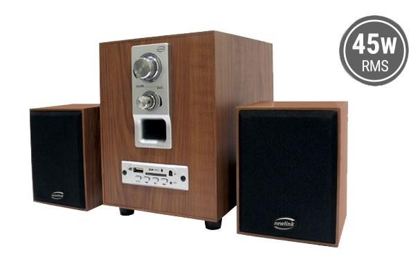 Caixa de Som , Bluetooth , Rádio FM, Cartão de Memória, Pendrive Speaker Wood Sp110