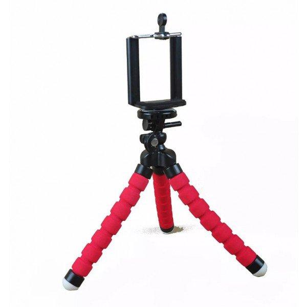 Mini Tripé Flexível Ajustavel P Celulares Vermelho  + Controle Selfie