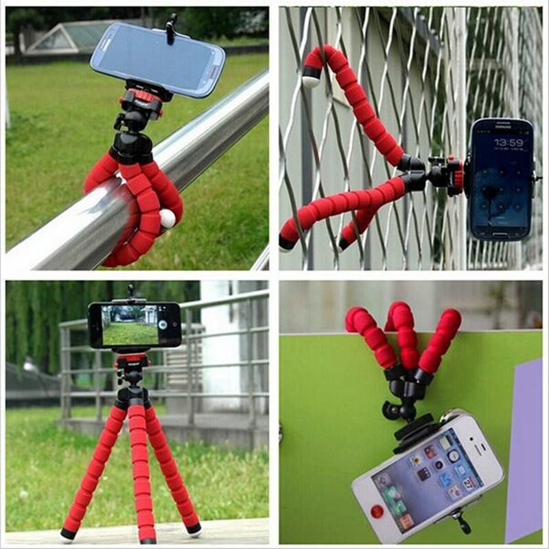 Mini Tripé Flexível Ajustavel P Celulares Azul + Controle Selfie