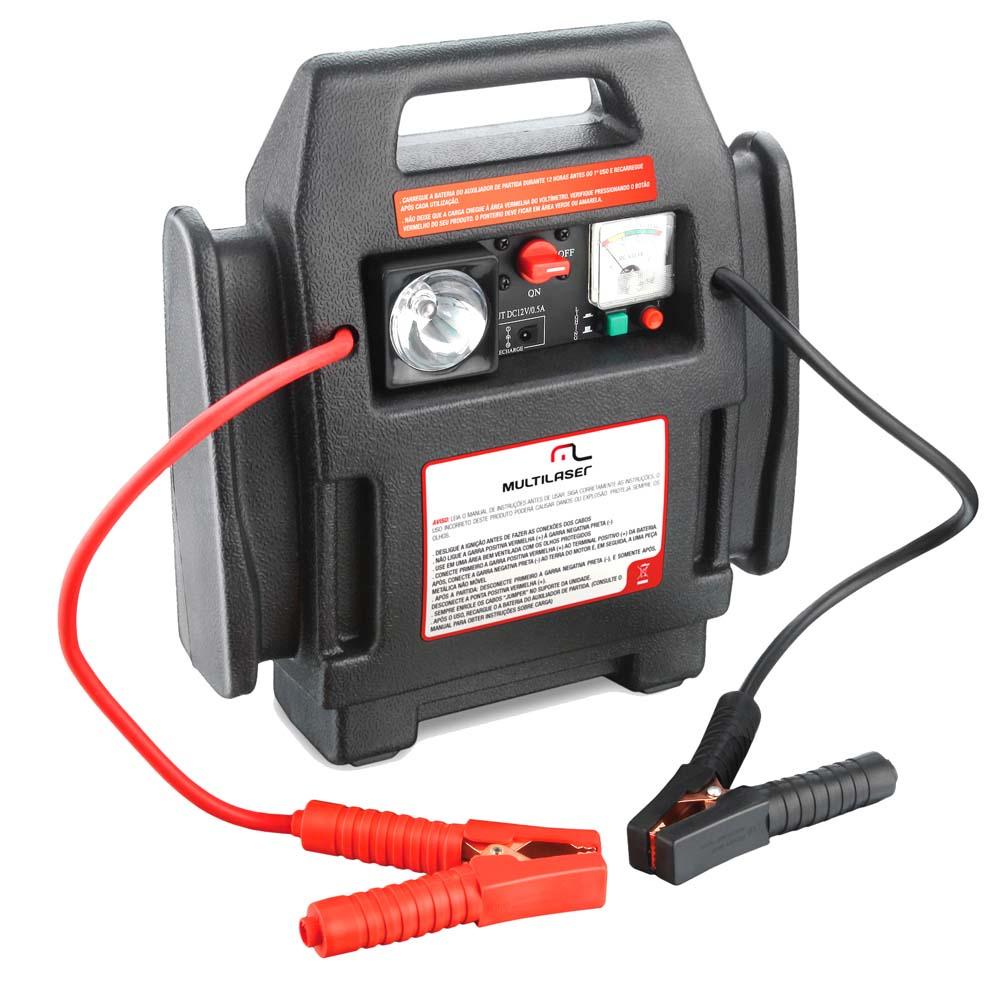 Auxiliar de partida / KIT de Emergência 4 em 1 Multilaser AU602 (Auxiliador de Partida, Compressor de Ar, Tomada e Lanterna) - Preto