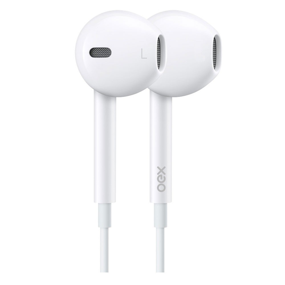 COMBO OEX TWIN DUAL SOUND HEADSET + FONE DE OUVIDO, HF-100 Branco
