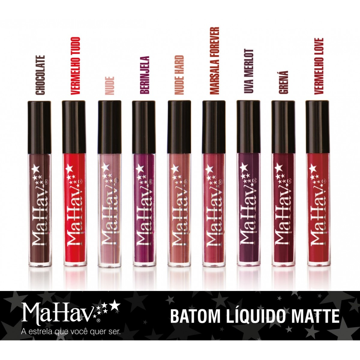 Kit  Batom Liquido Mahav  com 9 cores