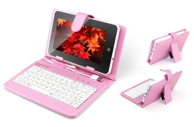 Capa para tablet de 7 polegadas com teclado rosa