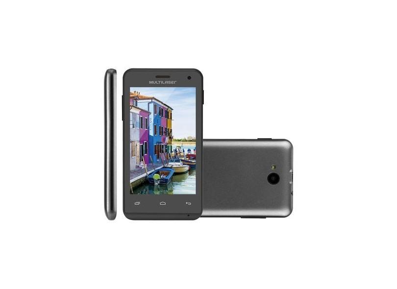 "Smartphone Multilaser MS40 Cor Preta Tela 4"" Câmera 2 MP + 5 MP 3G Quad Core 4GB Android 4.4 - P9007"