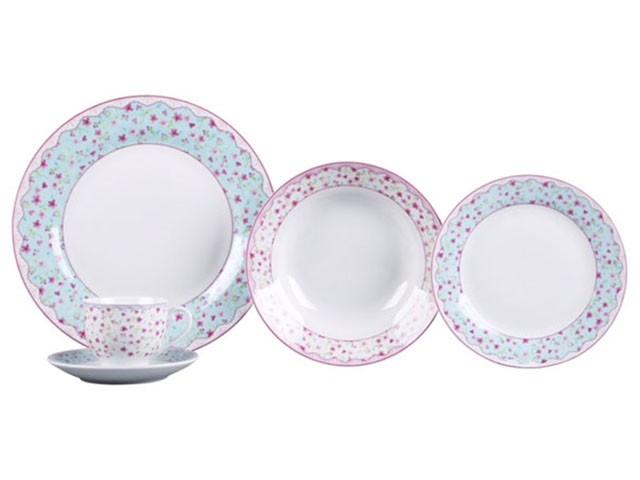 Aparelho de Jantar Chá 30 Peças Casambiente - Porcelana Redondo Colorido Princess APJA035