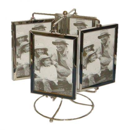 Porta Retrato Giratório de Alumínio Vertical - 8 fotos 10 x 15 cm frente e verso Brilho