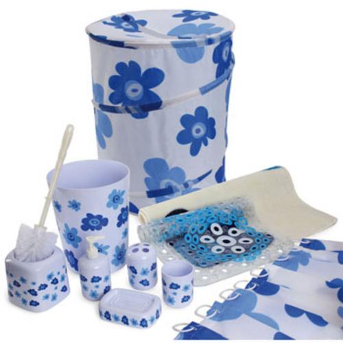 Kit Completo De Banheiro Com 10 Peças Azul Pratic