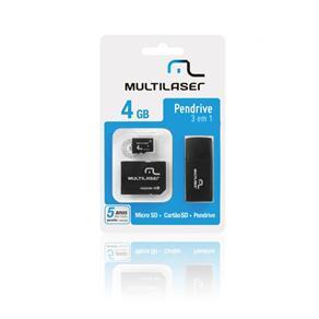 Kit Pen Drive + Leitor de cartão + Cartão de memoria MicroSD 4 GB