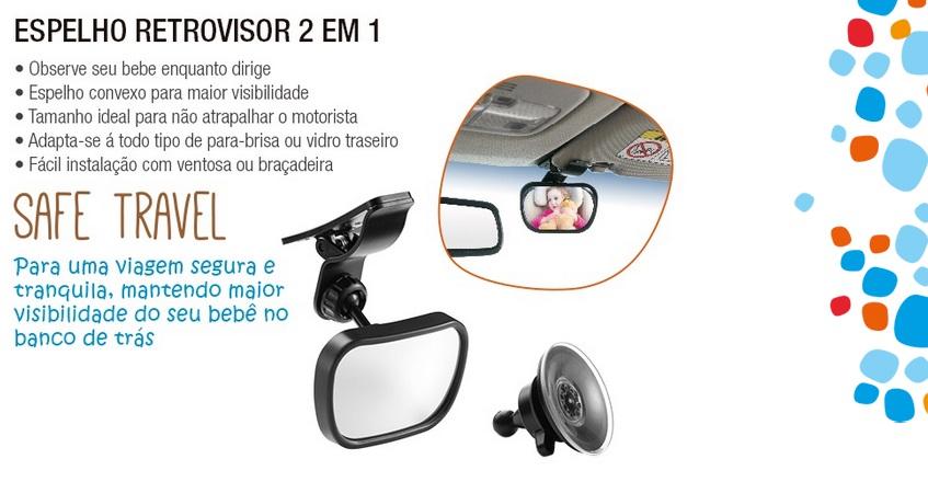 Espelho Retrovisor 2 em 1 Safe Travel  Multikids Baby BB180