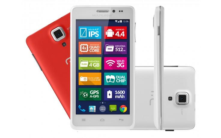Smartphone Ms5 Colors Branco  e Cartão de Memória de 8GB - P3311