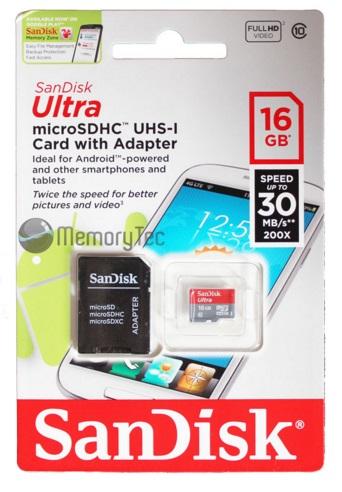 Cartão Micro SD Ultra Classe 10 Com Adaptador 16GB - Sandisk