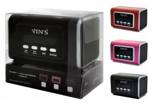 Caixa de som com Rádio FM, Pendrive, Cartão Micro SD Display Digital com Bateria Recarregável Yins Vermelha