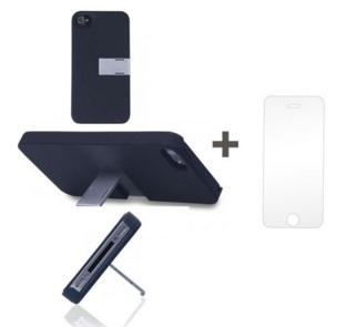 Kit Capa Suporte Iphone 5/5S Preto + Pelicula de Vidro GBMAX