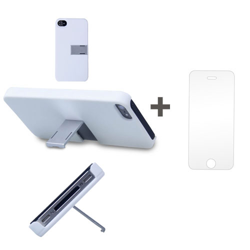 Kit Capa Suporte Iphone 5/5S Branco + Pelicula de Vidro GBMAX