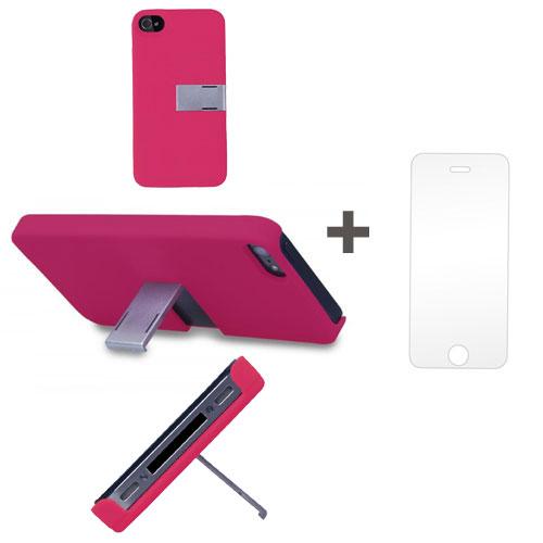Kit Capa Suporte Iphone 5/5S Rosa + Pelicula de Vidro GBMAX