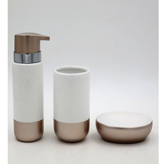 Acessórios Higiene Banheiro Lavabo Com 3 peças Sanxia Branco/Dourado