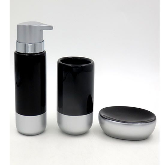 Acessórios Higiene Banheiro Lavabo Com 3 peças Sanxia BCRX-4091 Preto/Prata
