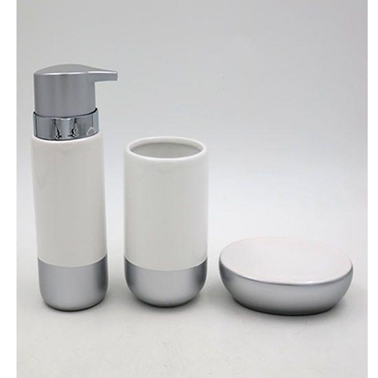 Acessórios Higiene Banheiro Lavabo Com 3 peças Sanxia Branco/Prata