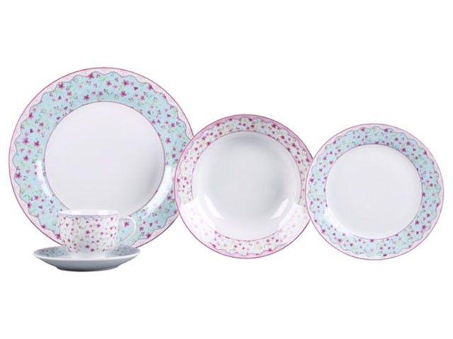 Aparelho de Jantar Chá 30 Peças Porcelana APJA035 + Jogo com 2 frigideiras AL012