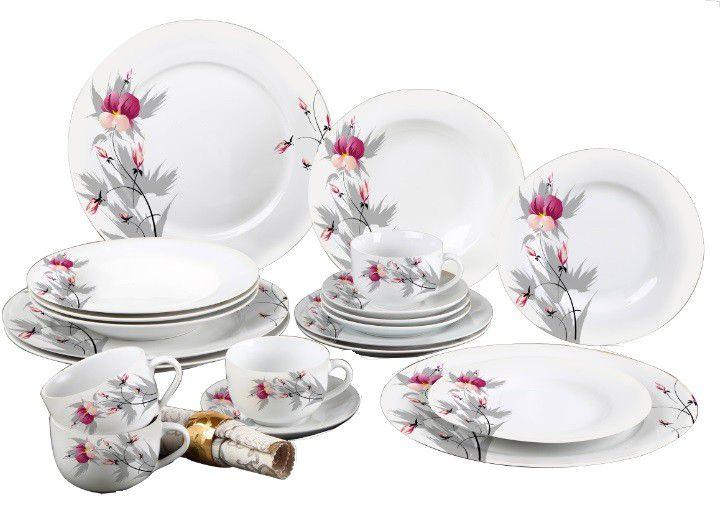 Aparelho De Jantar Estampado 20 Peças  3446 + Faqueiro FAQ008