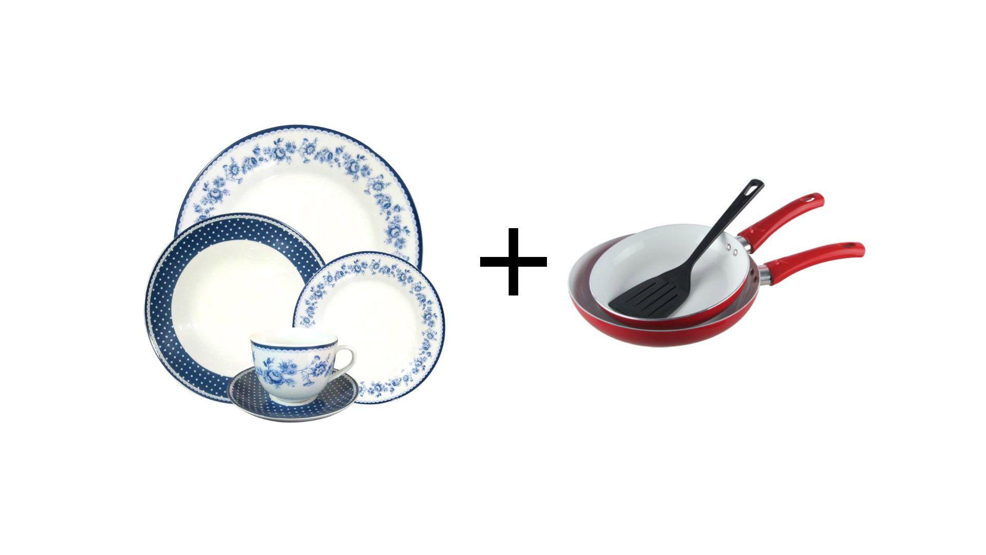 Aparelho De Jantar Viena 20 Peças + Jogo com 2 frigideiras