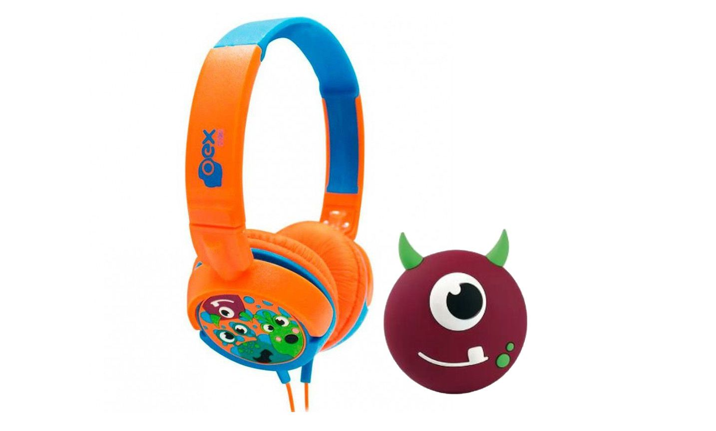 Caixinha Som Infantil Bluetooth Oex Boo Sk301 + Headphone Oex Boo Hp-301