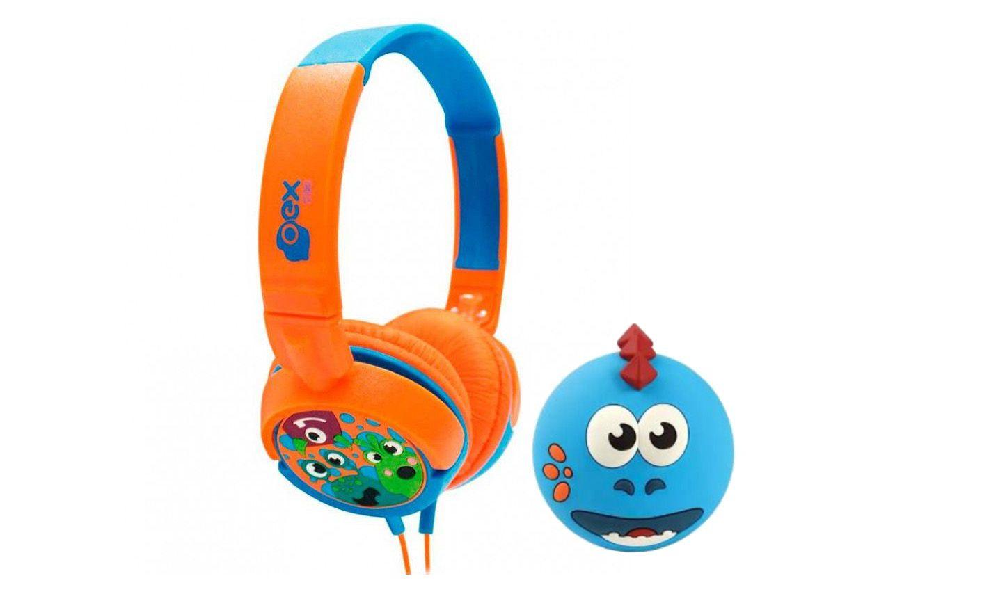 Caixinha Som Infantil Bluetooth Oex Dino Sk302 + Headphone Boo Hp-301