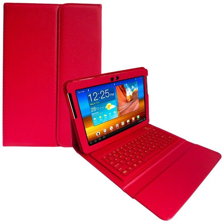 Case Samsung Galaxy Tab 10.1 Teclado Sem Fio Bluetooth Vermelho