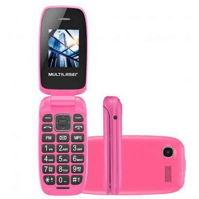 Celular Flip Up Câmera MP3 Dual Chip Rosa Multilaser P9023