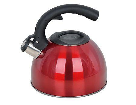 Chaleira Aço Inox 3,0 Litros Apito Vermelha Casambiente CHAL017