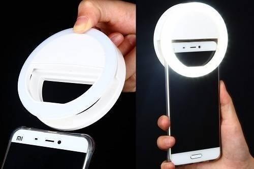 Clipe Anel Led Flash Selfie 3 Níveis De Luz Celular Notebook Branco