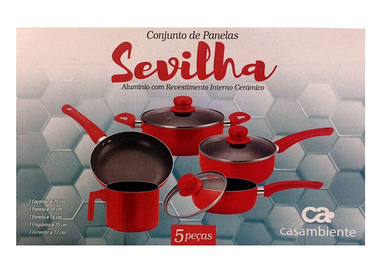 Conjunto de Panelas com 5 peças Revestimento Cerâmica Sevilha Casambiente AL038