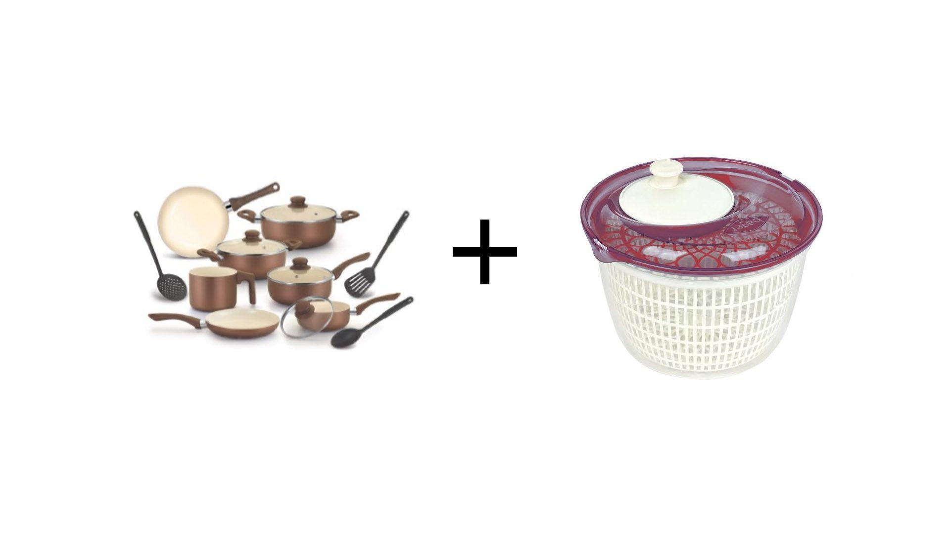 Conjunto de Panelas Roma Cerâmica 10 Peças AL040 + Centrífuga para Salada