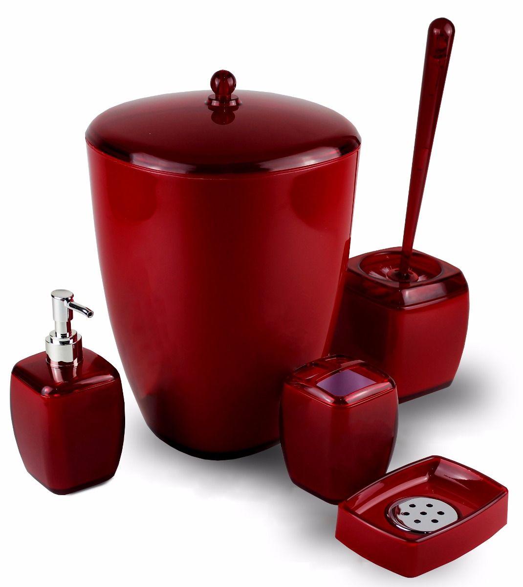 Acessórios De Banheiro Em Acrílico Decorativo 5 Peças Vermelho
