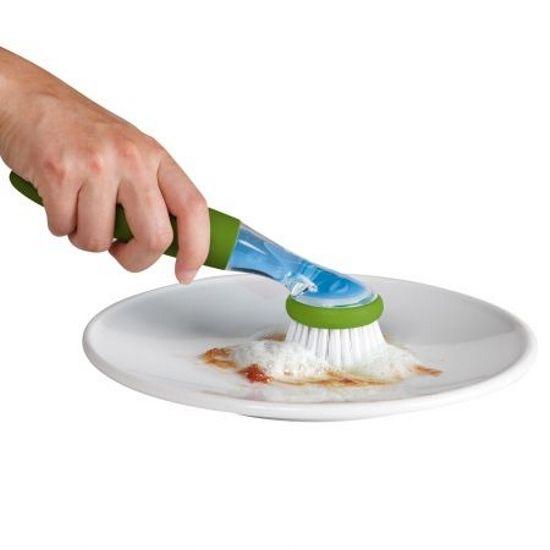 Escova Lava Louça C/ Dispenser Dosador De Detergente Cozinha Cinza