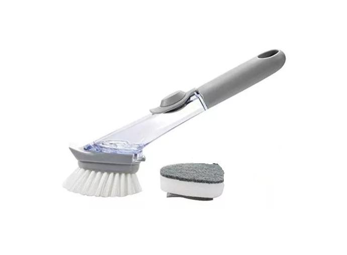 Escova Para Limpeza Com Porta Detergente Liquido  Cinza
