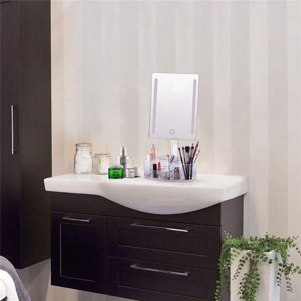 Espelho com LED e com base Organizadora em Acrílico Branco GBAC Gbmax